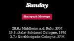 Hier erfährst du, wann du mit dem Pro-Team von Sunday Bikes eine Parksession in Köln oder Mühlheim a. d. Ruhr fahren kannst.