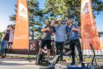 Die Gewinner der Pre-Quali bei der Ride Further Tour in Hard (v.l.n.r.): Paul Janda (2.), Allesio (1.) und Moritz Steinröder (3.); Foto: alex Grüber