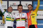 Michal Kwiatkowski als Weltmeister vor Simon Gerrans (Australien) und Alejandro Valverde (Spanien). (Foto: Sirotti)