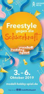 """Unter dem Motto """"Mission Transition"""" trumpft die Leipziger Messe Modell-Hobby-Spiel vom 3.-6.10. 2019 mit einem Funsportpark auf."""