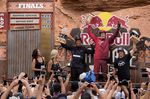 From left: Antoine Bizet (2nd place), Brandon Semenuk (1st place) and Carson Storch (3rd place) celebrate on the podium at Red Bull Rampage in Virgin, UT, USA on 14 October, 2016; Foto: John Gibson/Red Bull Content Pool