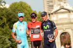 Chris Horner, Vincenzo Nibali und Alejandro Valverde auf dem Siegerpodium der Vuelta in Madrid letztes Jahr. (Foto: Sirotti)