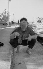 Eine Art Elektrorochen, die der Herr auf dem vorigen Bild zu uns rüber warf. Kurz danach hat Tom den Fisch beerdigt
