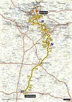 Die Strecke von Paris–Roubaix 2018. Die 29 Kopfsteinpflasterabschnitte snd rot markiert. Quelle: A.S.O.