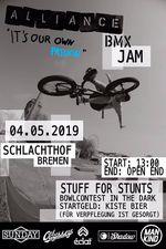 Am 4. Mai 2019 schmeißt Alliance BMX am Schlachthof Bremen einen dicken Jam mit Stuff 4 Tricks und einem Bowlcontest in the dark. Mehr dazu hier.