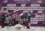 Podium der Frauen: 1. Marion Haerty (FRA) 2. Shannan Yates (USA) 3. Audrey Hebert (CAN) Foto: Mia Knoll
