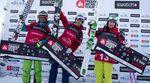 Ski Frauen: 1/ Christine Hargin (SWE) 2/ Lorraine Huber (AUT) 3/ Eva Walkner (AUT) auf dem Podeum der Freeride World Tour 2012 in Roldal