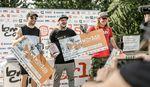"""Der Gewinner der Dirtklasse bei den BMX Worlds 2019 im Kölner Jugendpark (v. l. n. r.): Declan Brooks (3.), Mark Webb (1.) und Mike """"Hucker"""" Clark (2.)"""
