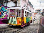 Lisbon Tram Barrio Alto, Elevador Da Gloria, Portugal