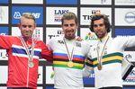 Peter Sagan (Slovakei) gewinnt zum dritte mal in Folge den Weltmeistertitel im Strassenrennen. Alexander Kristoff (Norwegen) gewinnt Silber, Michael Matthews (Australien) Bronze (Foto: Sirotti)