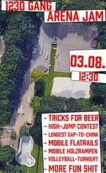 Am 3. August 2019 veranstaltet die 1230 Gang einen Jam im Arena Skatepark Regensburg. Hier sind die wichtigsten Infos