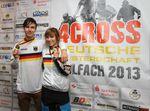 Die Deutschen Meister im Four Cross: Benedikt Last und Laura Brethauer