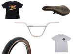 AllRide BMX Distribution spendiert 1 x Flybikes Trueno-Lenker in chrom, 1 Satz Lyra-Reifen von Kink Bike Co., einen Fitbikeco. Lo Bolt Pivotal Seat und zwei T-Shirts von The Trip