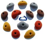 Multicoloured incut climbing holds