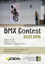 Am 30. Januar 2016 findet in der Boneyard-Skatehalle Siegen ein BMX-Contest in den Klassen A und B statt