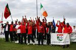 Team Portugal celebrate becoming European Surfing Champions at Eurosurf Bundoran (credit Linda McNulty)