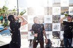 Corey Walsh (links). Chase Hawk (Mitte) und Sergio Layos setzten nach dem Contest einen neuen Standard für das richtige Verhalten bei Siegerehrungen