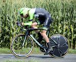 Das Belkin Pro Cycling-Duo Laurens Ten Dam (siehe Bild) und Bauke Mollema fuhren das neue Bianchi Aquila CV Zeitfahrbike auf der 20. Etappe der Tour de France 2014 zum ersten Mal. (Foto: Sirotti)