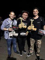 What, what?! Die Gewinner des Flatlandcontest der Amteure auf dem Highway to Hill 2018 sind (v.l.n.r.): Benjamin Hill (2.), Steffen Peter (1.) und Miguel Smajli (3.)