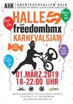 Die fünfte Jahreszeit kann kommen! Der alljährliche freedombmx X Halle 59 Karnevalsjam steigt in diesem Jahr am 1. März in den AbenteuerHallenKALK.