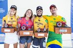 Stephanie Gilmore, Carissa Moore,Filipe Toledo und Gabriel Medina - die Gewinner des 2018 Surf Ranch Pro in Lemoore, CA, USA.