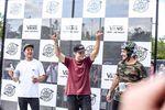 Die Gewinner des VANS BMX Pro Cup 201 in Waiblingen sind (v.l.n.r.): Sergio Layos (2.), Jason Watts (1.) und Larry Edgar (3.)