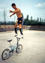 Thomas Göring, Backwards Barride @ BMX Worlds 1990 in Kennvor den Toren von Trier
