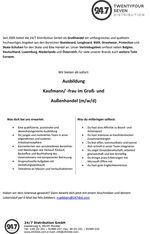 24/7 Distribution aus Münster bietet eine Ausbildung zum/zur Kaufmann/-frau im Groß- und Außenhandel an