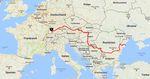 Die Tour durch zehn Länder bis zum Schwarzen Meer. Foto: Screenshot Google Maps