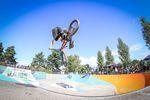 Den Skatepark in Hard kann man wie Trails fahren. Liam Eltham demonstriert das hier mal