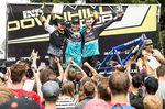 Die Gewinner der Elite-Men-Klasse beim iXS German Downhill Cup 2016 in Ilmenau