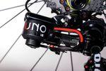 Der kleine Hebel unter dem Uno-Logo sorgt in der gezeigten Position dafür, dass das Schaltwerk aufs kleinste Ritzel springt. Im normalen Fahrbetrieb ist die Position des Hebels am linken Anschlag.