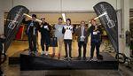 Die Gewinner der Amateurklasse beim kunstform X Zuppermarket Flatlandcontest 2016 in Trier sind (v.l.n.r.): Gino Stuart (1.), Barre Neirynck (2.), Tobias Müller (3.), Billy Whitefield (4.), Axel Reichertz (5.) und Bodean Maarsen (6.)