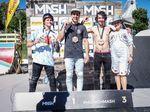 Die Gewinner von BMX Lake Line auf dem MASH 2019 (v.l.n.r.): Andy Buckworth (2.), Jake Leiva (1.) und Jack Clark (3.)