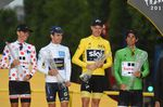 Die Trikots der 104. Tour de France: Warren Barguil (Bora-Hansgrohe), Simon Yates (Orica-Scott), Chris Froome (Team Sky), Michael Matthews (Bora-Hansgrohe). Foto: Sirotti