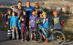 Mike McCormack with the crew from Momentum Trail Concepts and the local kids who are helping to map out the new trail network. Photo: Singletrack Sidewalks