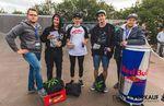Die Gewinner der BMX-Proklasse beim Woodstone Contest 2015 im Skatepark Wendelstein (v.l.n.r.): Fabian Haugk (1.), Michael Meisel (2.), Miquel Franzem (3.) und der Veranstalter Daniel Müller