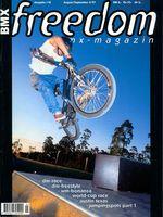 Ausnahmsweise mal kein Barspin: Jürgen Funk zierte im zarten Alter von 22 Jahren mit diesem X-Up to Tailtap im Skatepark Lohhof das Cover von freedombmx Ausgabe 18 (August/September 1997)