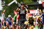 Dylan Groenewegen (LottoNL-Jumbo) siegt auf der 8. Etappe in Amiens zum zweiten mal in Folge bei der 105. Tour de France. (Foto: © ASO)
