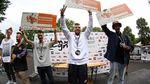 """Die Gewinner der """"Pro Flatland""""-Klasse von BMX Cologne 2017 sind (v. l. n. r.): Masato Ito (3.), Dominik Nekolny (1.) und Matthias Dandois (2.)"""