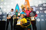 Lucas Chianca (BRA), Natxo Gonzalez (EUK), Billy Kemper (HAW), NAthan Florence (HAW), Grant Baker (ZAF) and Kai Lenny (HAW) gathered for the podium of the 2018 Nazaré Challenge at Nazaré, Leiria, Portugal.