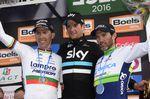 Die drei Sieger der La Doyenne: Wout Poels (mitte), Michael Albasini (rechts) und Rui Costa (links). Bild: Sirotti