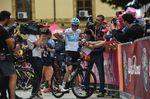 Chris Froome (hier am Start der 5. Etappe in Agrigento) schien auch heute Probleme zu haben, mit seinen RIvalen mithalten zu können. Eigentlich einer der Hauptfavoriten liegt er mit 55 Sekunden Rückstand hinter der Gesamtwertung. (Foto: Sirotti)