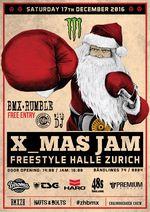 """Der Monster X-Mas Jam Zurich geht in eine neue Runde. Unter dem Motto """"BMX-Rumble"""" wird die Freestyle Halle in Zürich am 17. Dezember 2016 geshreddet."""