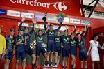 Movistar feiert den Sieg des Eröffnungszeitfahrens der Vuelta a Espana 2014. (Foto: Sirotti)