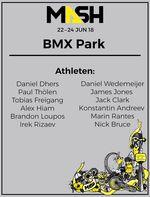 12 Topfahrer aus acht Nationen: das Starterfeld von BMX Park auf dem Munich Mash 2018 ist hochkarätig besetzt